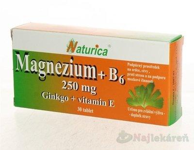 Naturica MAGNEZIUM 250 mg B6 Ginkgo vitamín E 30 tabliet
