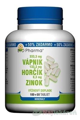 BIO Pharma Vápnik, Horčík, Zinok tbl 100+50 (50% ZADARMO) (150 ks) - Bio-Pharma Calcium + Magnesium + Zinek 100 tabliet