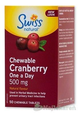 Swiss MEGA BRUSNICE (Chewable Cranberry One a Day) - cmúľacie pastilky 500 mg50 ks