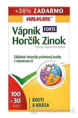 WALMARK VÁPNIK-HORČÍK-ZINOK FORTE s vitamínom D tbl (so sladidlom) 100+30 ks (130 ks)