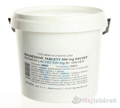 Magnesii Lactici 500mg tbl. Galvex, Magnéziové tablety 500mg Galvex tbl.1200 x 0,5 g