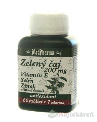 MedPharma ZELENÝ ČAJ 200 MG + Vit. E + Se + Zn, tbl 60+7 zdarma (67 ks)