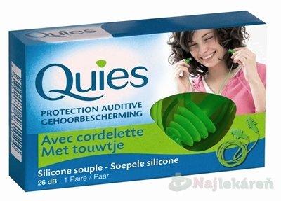 Quies Silikónové chrániče sluchu so šnúrkou, 26 dB, 2 ks