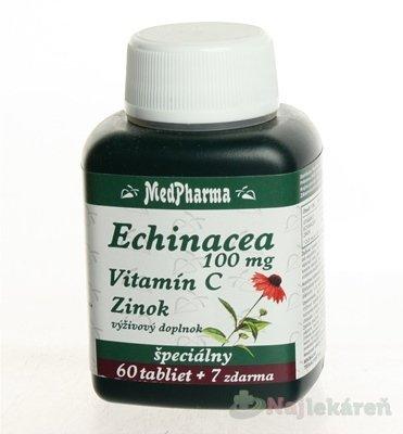 MedPharma Echinacea 300mg + vitamín C + baza čierna + propolis + zinok 67 tbl.