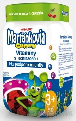 WALMARK Marťankovia Gummy Vitamíny s Echinaceou želatínové tablety, príchuť jahoda a čerešňa 50 ks