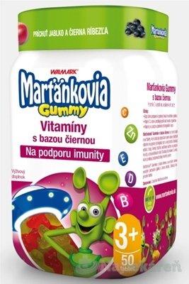 WALMARK Marťankovia Gummy Vitamíny s Bazou čiernou žel.tablety, príchuť jablko a čierna ríbezľa 50ks