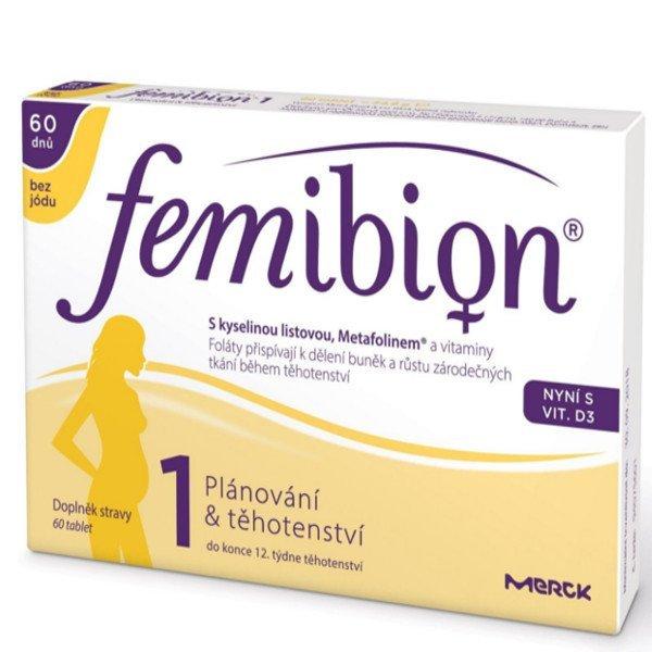 Femibion 1 Kyselina listová a Metafolin + Vitamín D3 60 tbl