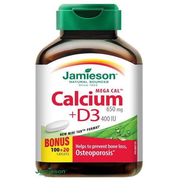 Jamieson Mega Cal™ vápnik 650 mg s vitamínom D3 400 IU 120 tbl.