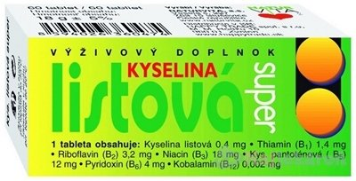 NATURVITA KYSELINA LISTOVÁ SUPER 60ks - Naturvita Kyselina listová Super 60 tabliet