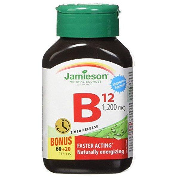 Jamieson Vitamín B12 metylkobalamín 1200 μg s postupným uvoľňovaním 80 tbl.