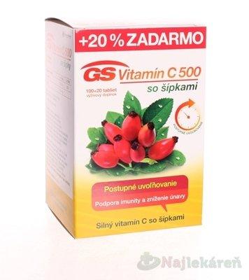 GS Vitamín C 500 so šípkami 120 kapsúl
