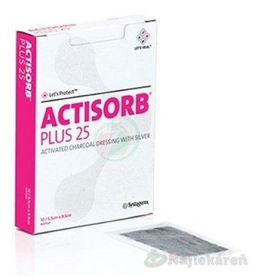 ACTISORB PLUS 25 Obväz s aktívnym uhlím a striebrom, 6,5 x 9,5 cm, 1x10 ks