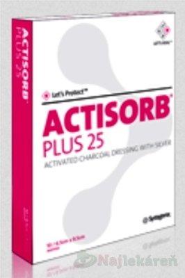 Actisorb Plus obväz s aktívnym uhlím a striebrom 19,0 x 10,5 cm 10 ks