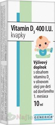 GENERICA Vitamin D3 400 I.U. kvapky, 10 ml - Generica Vitamin D3 400 I.U. kvapky 10 ml