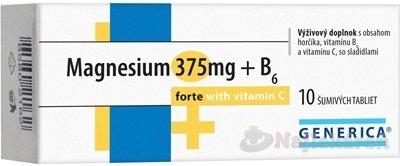 GENERICA Magnesium 375 mg + B6 forte s vitamínom C, 10 ks