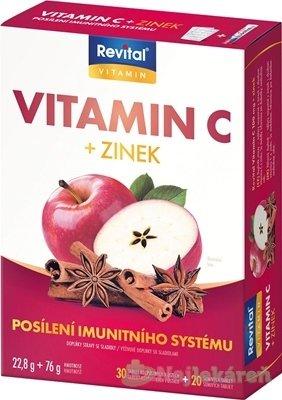 Revital Vitamín C + Zinok - Revital Vitamín C + Zinok 30 tabliet (vit.C 100mg + zinok) + tbl eff 20 vit.C 500mg + zinok