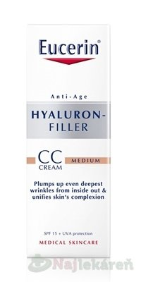 Eucerin HYALURON-FILLER CC krém stredne tmavý - Eucerin Hyaluron-Filler CC krém SPF15 Medium 50 ml