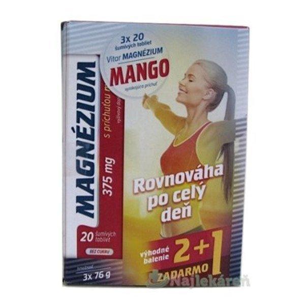 Vitar Magnezium 375mg Mango tbl eff 3 x 20