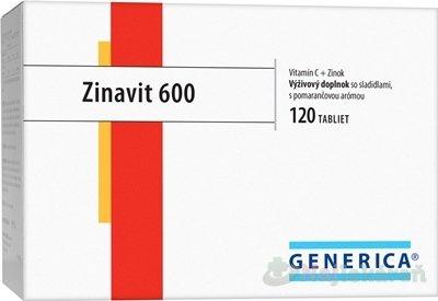 Generica Zinavit 600 s pomarančovou arómou tbl Vitamín c + zinok 120 ks