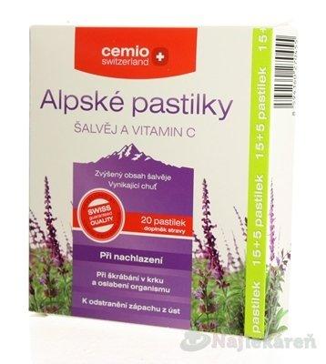 Cemio Alpské pastilky Šalvia a Vitamín C 20 ks