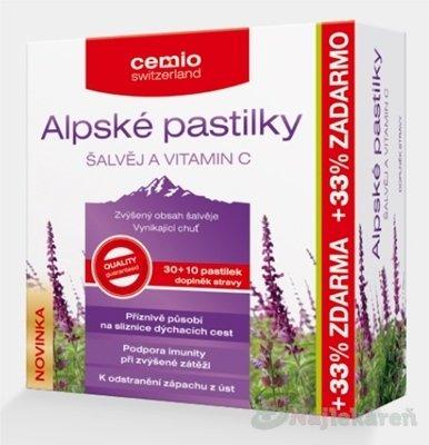 Cemio Alpské pastilky Šalvia a Vitamín C 40 pastilek