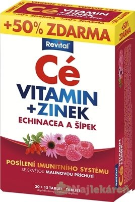 Revital Cé VITAMÍN+ZINOK, ECHINACEA A ŠÍPKA - Revital Vitamin C + zinek + Echinacea + šípek 45 tabliet