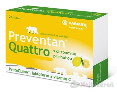 FARMAX Preventan Quattro s citrónovou príchuťou - Farmax Preventan Quattro s citrónovou príchuťou 24 tabliet