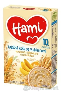 Hami mliečna kaša so 7 obilninami banánová - Nutricia Hami sa 7 obilninami banánová s chrumkami a corn flakes 225 g