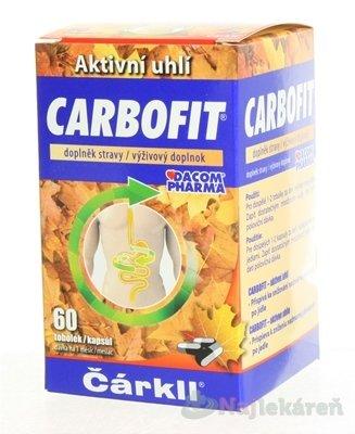 CARBOFIT Čárkll k zníženiu nadmernej plynatosti po jedle cps 1x60 ks - Dacom Pharma Carbofit 60 kapsúl