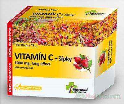 Slovakiapharm VITAMÍN C 1000 mg +šípky long effect - Slovakiapharm VITAMÍN C 1000 mg +šípky long effect cps 60