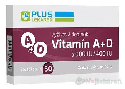 PLUS LEKÁREŇ Vitamín A+D 5000 IU/400 IU 30ks - Plus Lékareň VITAMIN A+D 5000 IU/400 IU 30KS CPS 30 KS