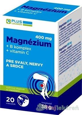 PLUS LEKÁREŇ Magnézium 400 mg+B komplex+vitamín C - PLUS MG 400 MG+B KOMPLEX+VITAMIN C 20KS VRECUSKA