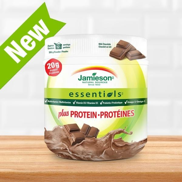 Jamieson Essentials™ plus PROTEIN s príchuťou mliečnej čokolády 355g