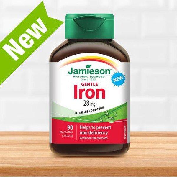 Jamieson Železo 28mg 90 kapsúl - Jamieson Iron GENTLE 28 mg KOMPLEX S VIT. B,C 90 kapsúl