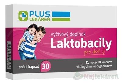 PLUS LEKÁREŇ Laktobacily pre deti na rovnováhu črevnej flóry, 30ks - Plus lekareň Laktobacily pre deti 30 kapsúl
