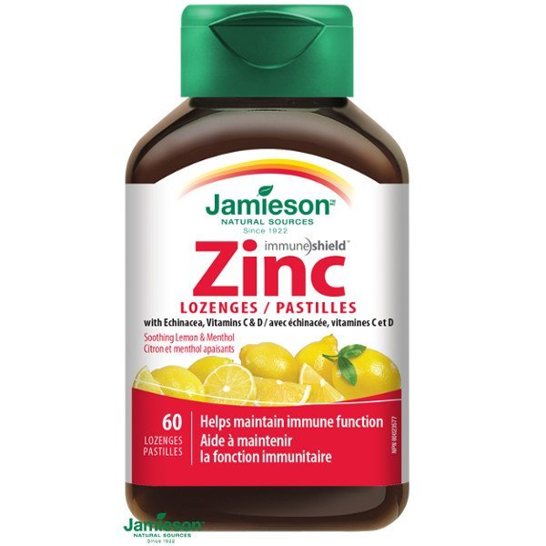 Jamieson Zinok s vitamínmi C a D3 s príchuťou citróna 60 pastiliek