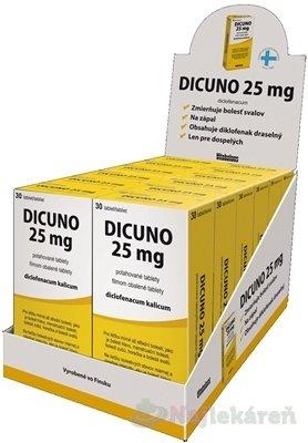 DICUNO 25 mg filmom obalené tablety DISPLEJ na bolesť, 12x30ks