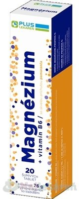 PLUS LEKÁREŇ Magnézium + vitamín B6 20ks - Plus Lekáreň Magnézium + vitamín B6 tbl eff s príchuťou pomaranča 20 ks