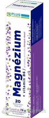 Plus Lekáreň Magnézium + vitamín B6 tbl eff s príchuťou čiernych ríbezlí 20 ks