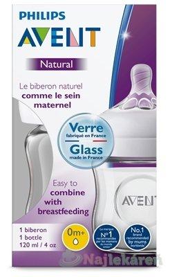 AVENT FĽAŠA Natural SKLO dojčenská 120 ml - Philips Avent Sklenená fľaša Natural 125 ml bez BPA