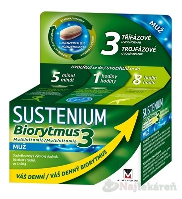 SUSTENIUM Biorytmus 3 multivitamín MUŽ - Sustenium Biorytmus 3 multivitamin MUŽ tbl. 30