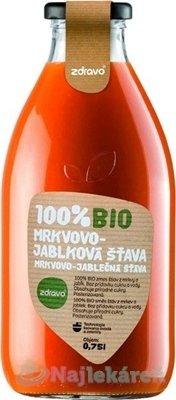 Zdravo 100% ovocné a zeleninové šťavy 100% bio mrkvovo jablková šťava 750 ml