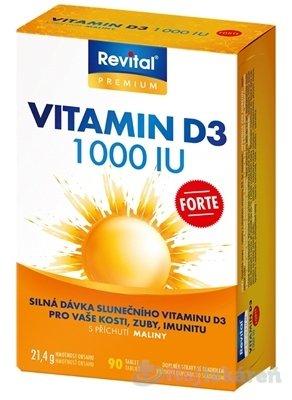 Revital Vitamín D3 FORTE 1 000 IU - Revital Vitamín D3 FORTE 1 000 IU tbl s príchuťou maliny 90 ks