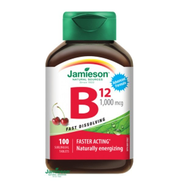 Jamieson Vitamín B12 metylkobalamín 1000 μg rýchlorozpustné tablety s príchuťou čerešne 100 tbl