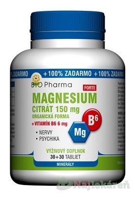 BIO Pharma Magnesium citrát 150mg + Vitamín B6 - BIO Pharma Magnesium citrát 150mg + Vitamín B6 tbl 60