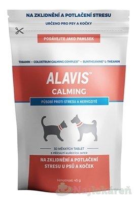 ALAVIS CALMING mäkké tablety na upokojenie pre psy a mačky 30 ks