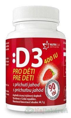 NUTRICIUS Vitamín D3 pre deti 400 IU, 90 ks - Nutricius Vitamín D3 pre deti 400 IU s príchuťou jahôd 90 tabliet