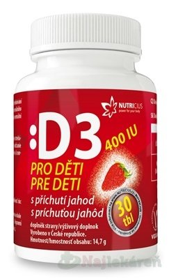 NUTRICIUS Vitamín D3 pre deti 400 IU, 30 ks - Nutricius Vitamín D3 pre deti 400 IU s príchuťou jahôd 30 tabliet