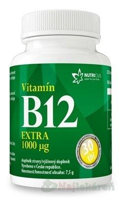 NUTRICIUS Vitamín B12 EXTRA 1000 μg - Nutricius Vitamín B12 Extra 1000 g 30 tabliet