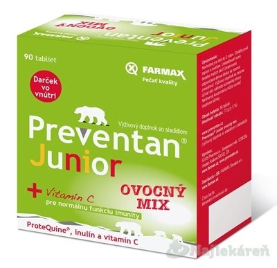 FARMAX Preventan Junior + vitamín C, 30 ks - Preventan Junior ovocný mix 90 tabliet